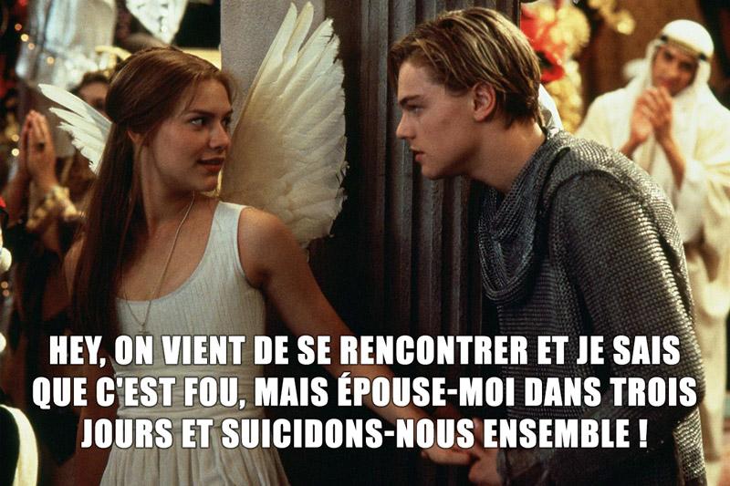 Explication de la relation rapide de Romeo + Juliette : ils se rencontrent, se marient 3 jours après puis décident de se suicider