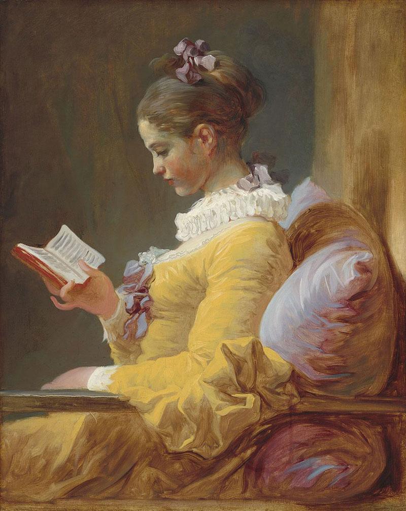La Liseuse de Jean Honoré Fragonard : Peinture d'une jeune fille assise en train de lire